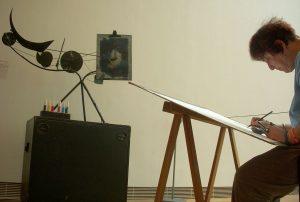Franziska Fiedler an der Malmaschine